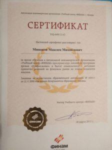"""Сертификат о прохождении обучения по программе """"Профессионал"""""""